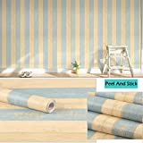 Wood Peel and Stick Wallpaper, Wall Decor Faux Wood Strip Easy Contact Easy Removable Wall Paper For Furniture Cabinets Living Rood Kitchen 17.71''X 393.7'' inch Roll New Mediterranean Strip