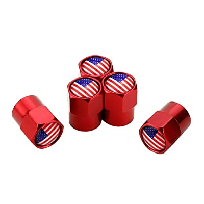 GO-UPP 5pcs US Flag Logo Tire Valve Stem Caps for SUV Jeep Ford Lexus Honda Toyota BMW Audi Benz Cadillac Car Styling Decoration Accessories: Automotive