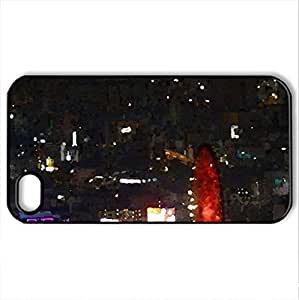 Osaka Night - Case Cover for iPhone 4 and 4s (Skyscrapers Series, Watercolor style, Black)