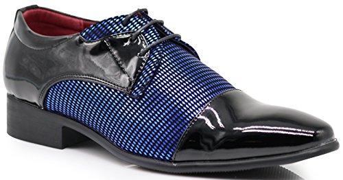 NVK Men's Colonial Spectator Two Tone Cap Toe Oxfords Lace Up Dress Shoes (13, Blue)]()