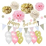 Easy Joy Pink Gold Birthday Decorations Pom Poms Flowers Kit Happy Birthday Banner for 1st Birthday Girl Kids Birthday Baby Shower Decoration