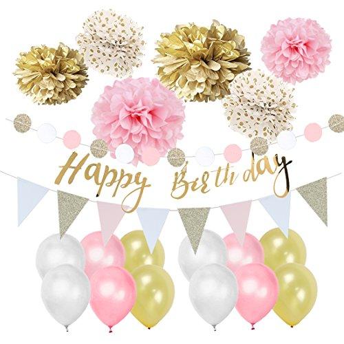 Pink Gold Birthday Decorations Pom Poms Flowers Kit Happy Birthday Banner for 1st Birthday Girl Kids Birthday Baby Shower Decoration Easy Joy