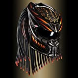 burn helmet japanese alien predator motorcycle custom design helmet with laser light (L)
