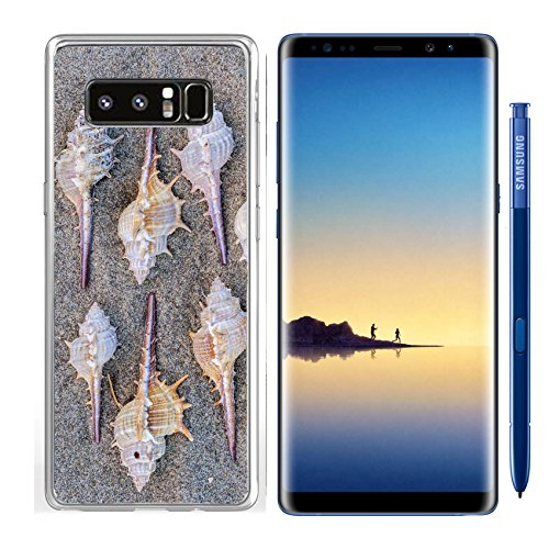 Luxlady Samsung Galaxy Note8 Clear case Soft TPU Rubber Silicone IMAGE ID 21495900 Arrangement of eight spiny seashells from marine snails or gastropods forming a repeat patt