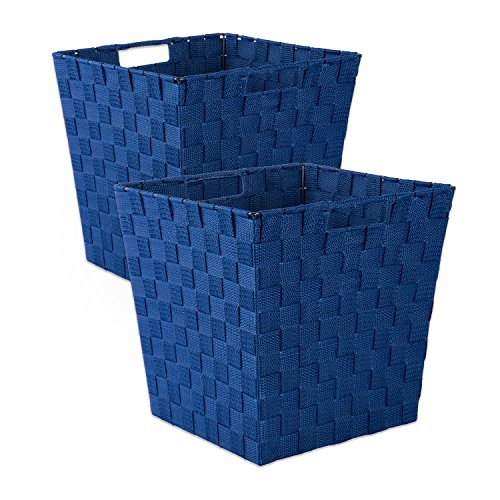 DII Durable Trapezoid Woven Nylon Storage Basket for Organizing Your Home, Office, or Closets (Medium Bin - 11 x 11 x 11