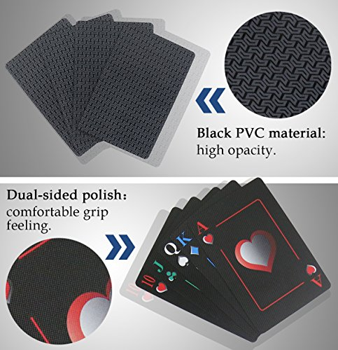 Joyoldelf Creative Playing Cards, Plastic PVC Waterproof Poker Deck of Cards with Black Backing in Box for Cardistry, Magic Trick and Party (Black) (Black)