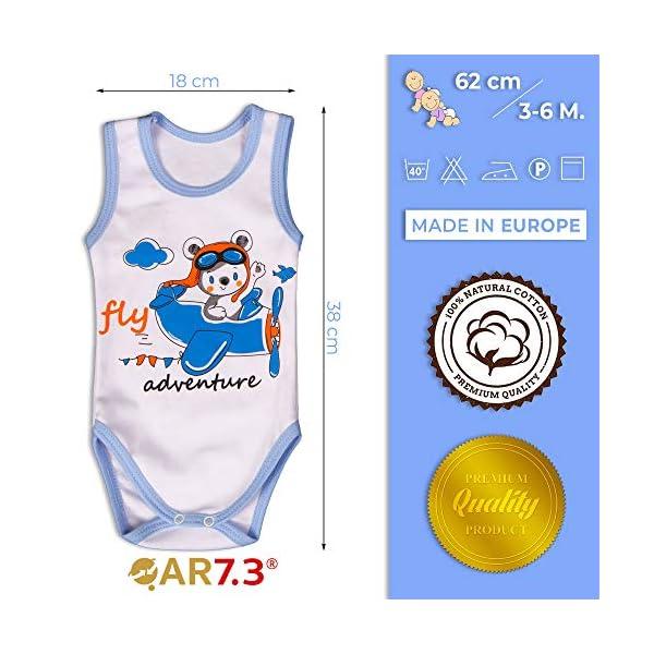 QAR7.3 Completo Vestiti Neonato 3-6 mesi - Set Regalo, Corredino da 5 pezzi: Body, Pigiama, Bavaglino e Cuffietta (Blu… 4