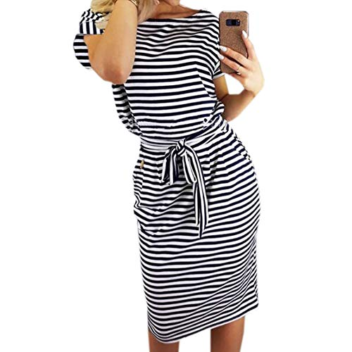 PALINDA Women's Striped Elegant Short Sleeve Wear to Work Casual Pencil Dress with Belt (S, Black)