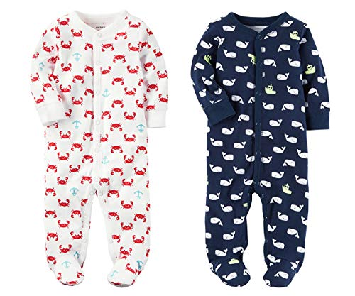 Baby Boys Footed Sleeper Cotton Sleep and Play Pajama with Snaps, Set of 2 (Newborn, White Crabs and Navy Whales)