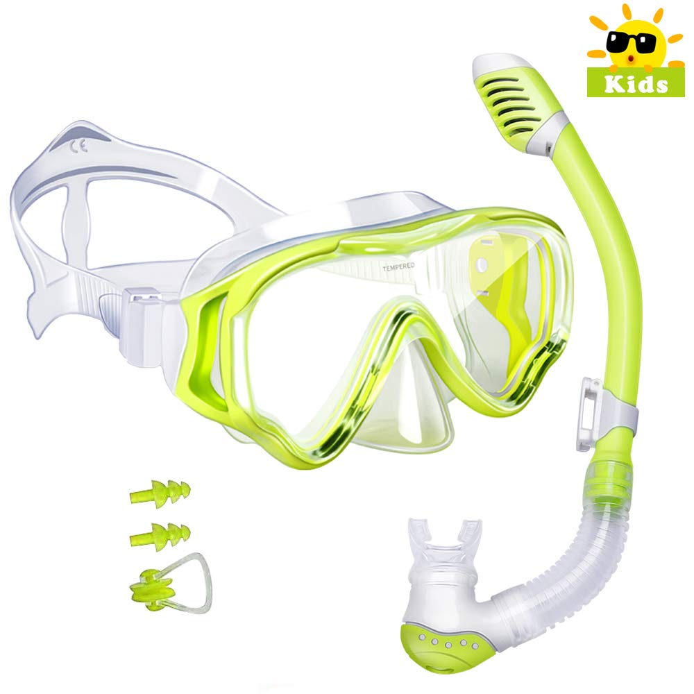 Kids Snorkel Set-Powsure Dry Top Seaview Snorkel Mask for Children, Boys, Girls,Youth, Big Eyes Anti-Fog Coated Glass Snorkeling Mask, Easybreath with Silicon Mouth Piece for Swimming, Diving (Yellow) by Powsure