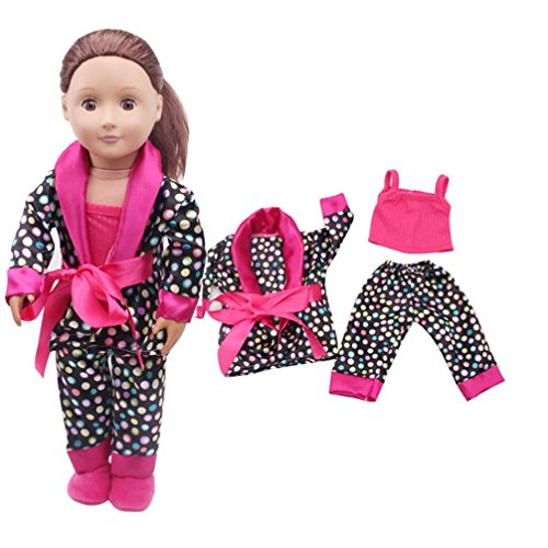Promisen For 18inch American Girl Dolls 5pcs Clothes Shoes Set Pajamas Set (Hot Pink) from Promisen