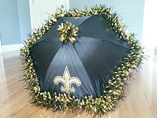 New Orleans Second Line Umbrellas Handmade, Black and Gold Fleur de Lis, Football Party Tailgate