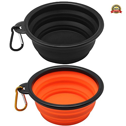 2PCS Travel Dog Bowl Collapsible of Food Grade Silicone BPA Free FDA for Pet / Dog/ Cat Water Food Feeding, 5 inch Wide Folding Portable Cup Dish with Carabiner - Black, Orange - Replacement Dog Crate Handles