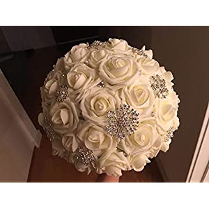 Lmeison Artificial Flower Rose 50pcs Ivory Real Looking Artificial Roses w/Stem for Bridal Wedding Bouquets Centerpieces Baby Shower DIY Party Home Decor, Ivory 5