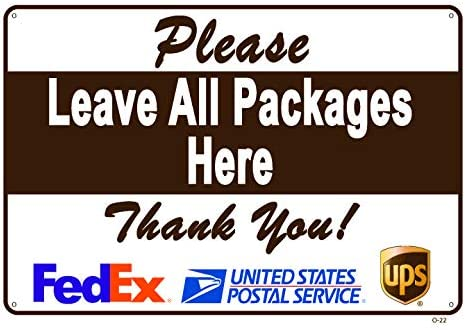 """Leave All Packages HERE Sign an Vivid Design Plus UV Protection to Last Longer Perfect Gift Rust-Free Plastic at 8x12 0.06/"""" A Pleasant Reminder to Delivery People"""