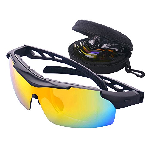MATT SAGA Polarized Sports Sunglasses for Men Women, Bike Glasses with Strap Interchangeable Lens, Bicycle Sunglasses for Driving Cycling Running Fishing Golf Baseball Outdoor Eyewear ()