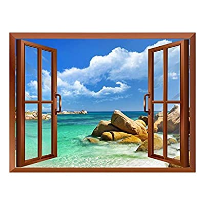 Tropical Landscape Seychelles Paradise Removable Wall Sticker Wall...