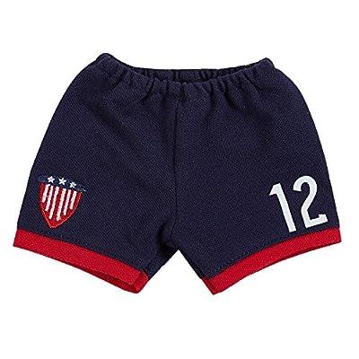 18 Inch Doll Clothes(Team USA 6 Piece Soccer Uniform,Inchudes Shirt,Shorts,Socks,Headwear,Football,Shoes,Fits 18