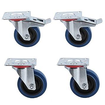 2 sin freno 2 con freno 100mm Homgrace Juego de 4 ruedas giratorias para muebles di/ámetro de rueda 100MM carga de 160 kg ruedas para transporte,