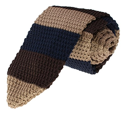 (Glennbrook Mens Knit Necktie Horizontal Stripe Collection Tan Navy Blue Brown)