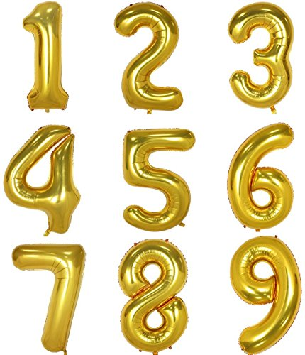 Gold Number Balloon 40 inch Large Helium Foil Digital Balloons Jumbo Birthday Party Decoration Number 3 for $<!--$7.99-->