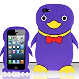 For iPhone 5 (AT&T/Sprint/Verizon/Cricket) Penguin 3D Design Silicon Case - Purple SCPNG