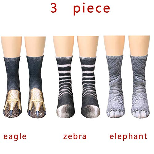 - Animal Paw 3D Print socks Halloween Christmas BANLAN Novelty Crew 3 Piece Socks women Adult