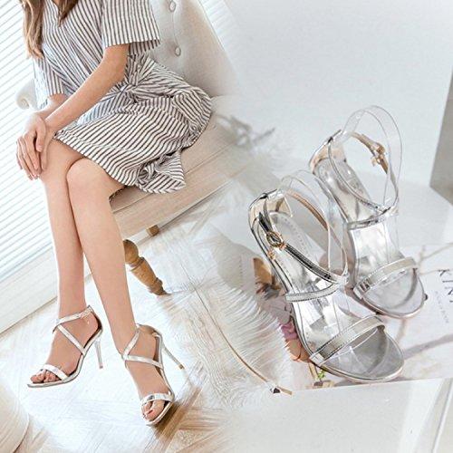 Silver Slim Women's Heel Nonbrand Buckle RfSxq