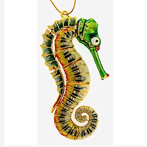 Home and Holiday Shops Bejeweled Green Seahorse Articulated Cloisonne Metal Christmas Tree Ornament New