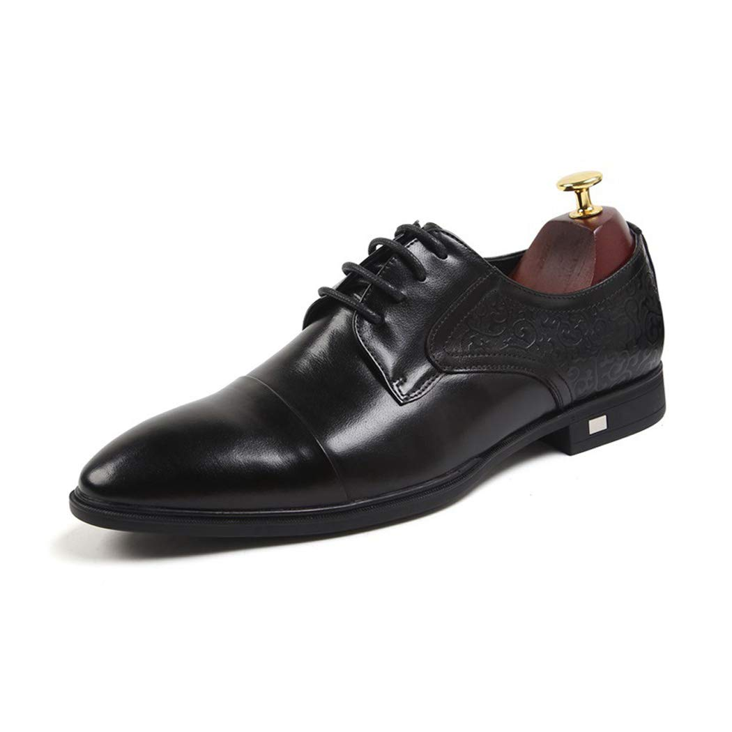 Black Jeff-chy Men's Dress shoes High-end Top Layer Leather Low-cut With Pointed Business Men's shoes