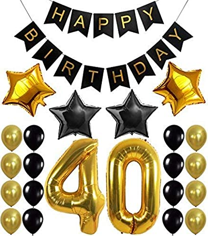 KATCHON 1 11 Decorations Happy Birthday Banner 40th BalloonsGold And Black Number
