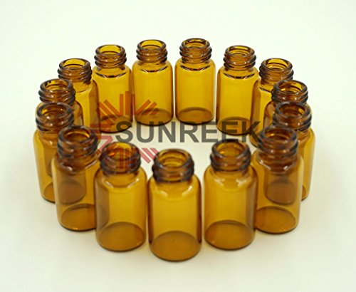 Sunreek™3 ml Amber Glass Essential Oil Bottle with Orifice Reducer and cap- 15 pack