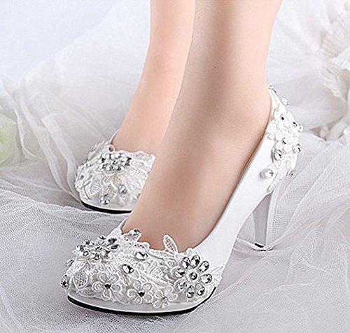 JINGXINSTORE 7.5 cm 3  Sehr Weiße Spitze Kristall Hochzeit Schuhe Braut Hoch Sehrs Größe 5-10
