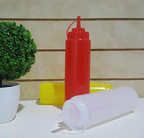 Kingken 1 PC 360 ml in plastica resistente tappo dosatore condimento olio ketchup Squeeze Bottle (Red)