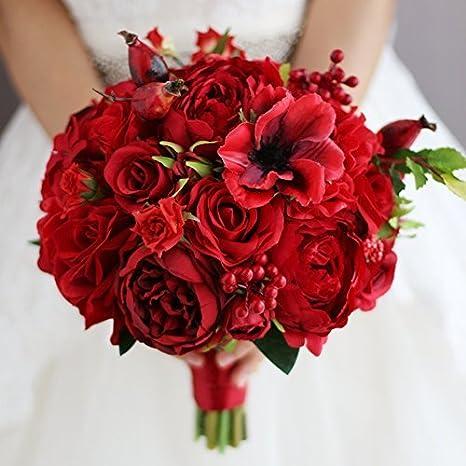Bouquet Sposa Rosso.New Red Bouquet Sposa Damigella D Onore Bouquet Di Fiori