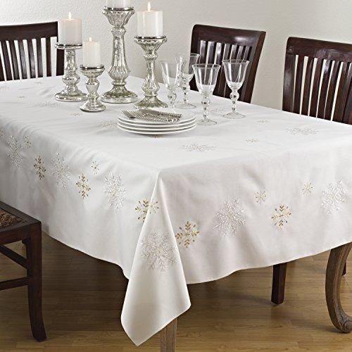 """Saro LifeStyle 116.I70120B  Snowflake Design Tablecloth, Ivory, 70""""x120"""""""