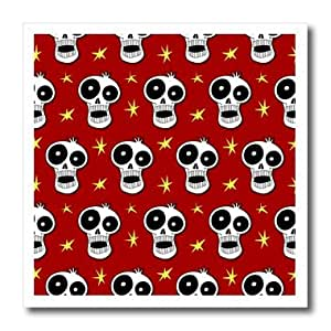 ht_58952_2 Mark Grace CARTOON SKULL PATTERNS funny skulls - SKULL PATTERN toon skull 1b on dark red - Iron on Heat Transfers - 6x6 Iron on Heat Transfer for White Material
