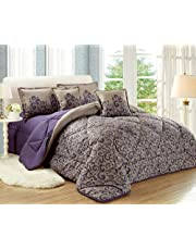 Paisley Comforter Set By Moon- 4 Pieces, Single Size, No.01, Purple, Mixed Material