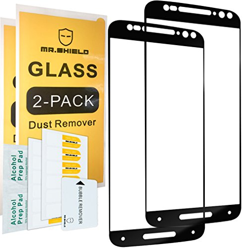 [2-PACK]-Mr Shield For Moto X Pure Edition [FullCover][Black] Screen Protector with Lifetime Replacement Warranty