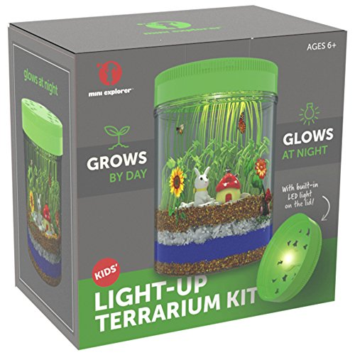 51oye0JF0gL - Light-up Terrarium Kit for Kids with LED Light on Lid | Create Your Own Customized Mini Garden in a Jar that Glows at Night | Great Science Kits Gifts for Children | Kids Toys | by Mini Explorer