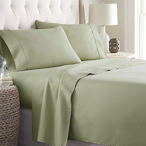 Wamsutta Sunrizer Bedding 500-Thread Count 100% Egyptian Cotton 18 Inch Drop Length King Sheet Set in Sage ()