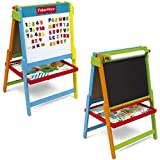 Fisher Price Wooden Double Sided Art Easel 2in1 Chalkboard Magnetic Childrens Kids Drawing White board Alphabet Letters Numbers Accessories Creative Learning Educational Activity Toy Artist Set