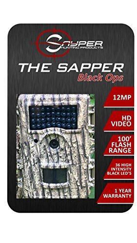 The Sapper Black Ops IR Trail Camera 12 MP 1080P 2.4 Inch LCD Hunting Camera with 36 IR LED Night Vision with 100 Foot Range. Waterproof Trail Camera with IP66 Rating 4 or 8aa Battery Operation