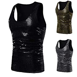 Men's Crew Neck Shiny Sequins Tank Top