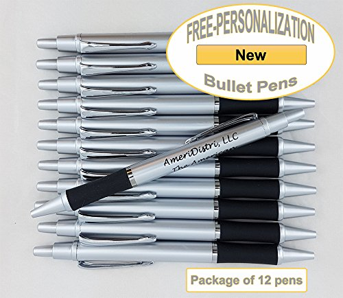 ezpencils - Personalized - Elegant Tip and Click Silver Accents on Silver Solid Color Body and Black Grip - Bullet Ballpoint Pens - 12 pkg FREE PERZONALIZATION