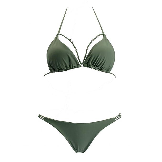 Longra❤ ❤ Conjunto de Bikini de baño con Escote Halter y Traje de baño Push up para Mujer: Amazon.es: Deportes y aire libre