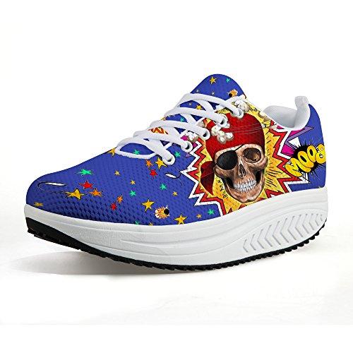 Plate-forme Chaussures De Marche Pour Les Femmes Crâne Impression Décontractée Sneaker Forme Jusquà Respirant Léger Modèle 4