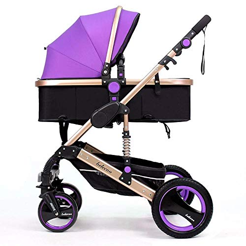 TZZ Baby Stroller Travel System High Landscape Carriage Compact Pram Pram with 5-Point Safety Belt Pushchair for Toddler Girls and Boys (Color : B)