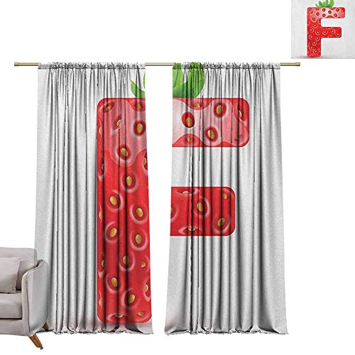 Best Blackout Curtains Letter F,Red Berry and Vibrant Green Leaves Uppercase F Delicious Design Print, Vermilion Green Orange W72 x L96 Blackout Curtain Set