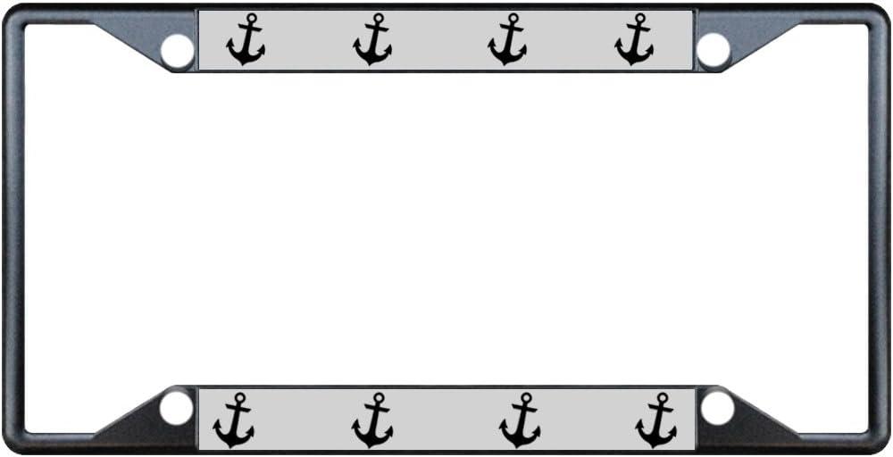 Ship Anchor Black Metal License Plate Frame Holder Four Holes